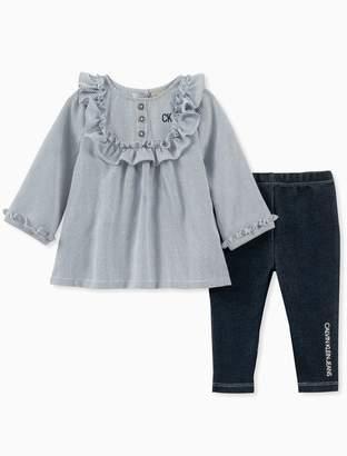 Calvin Klein girls 2-piece ruffle tunic + logo leggings set