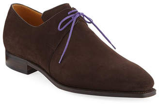 Arca Corthay Suede Lace-Up Shoe, Dark Brown