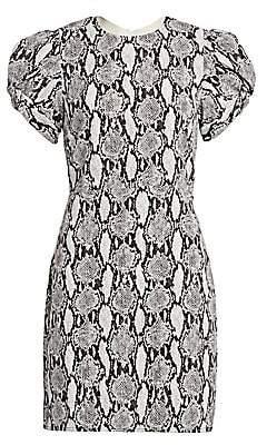 A.L.C. Women's Brinley Puff-Sleeve Snake Print Sheath Dress