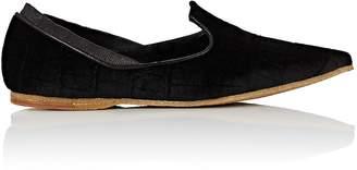 Dries Van Noten Women's Crocodile-Stamped Velvet Loafers