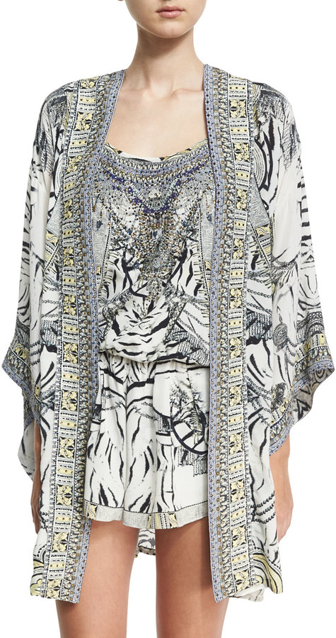 CamillaCamilla Embellished Silk Kimono Coverup w/ Belt