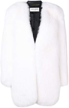 Saint Laurent collarless fur coat