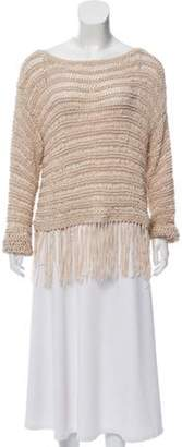 Intermix Fringe-Trimmed Woven Sweater Tan Fringe-Trimmed Woven Sweater