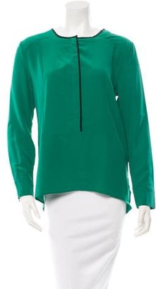 Brochu Walker Silk Long Sleeve Top w/ Tags $95 thestylecure.com