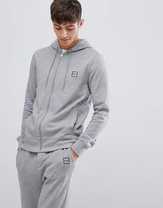 BOSS Znacks box logo zip thru hoodie in gray