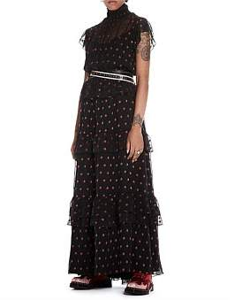 Scotch & Soda High Neck Maxi Dress In Star Jacquard