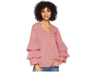 Kensie Gingham Check Top KS4K4674 Women's Clothing