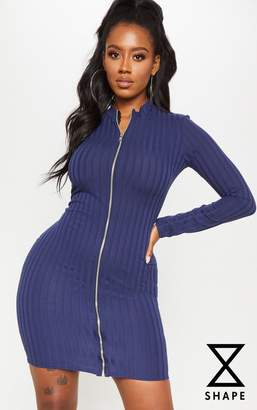PrettyLittleThing Shape Navy Ribbed Zip Front Bodycon Dress