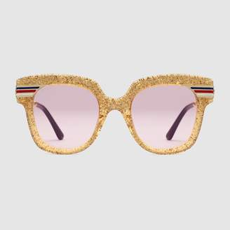 Gucci Square-frame glitter acetate sunglasses