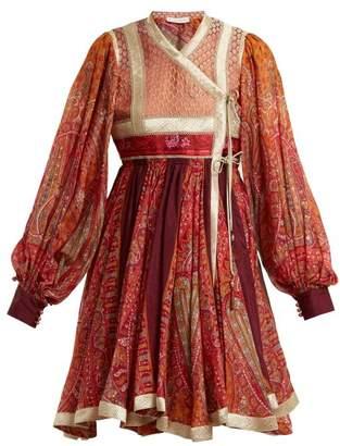 Etro Bangalore Paisley Print Cotton Blend Wrap Dress - Womens - Burgundy Multi