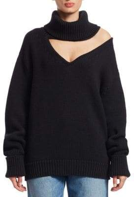 Monse Wool Drop Shoulder V-Neck Turtleneck Sweater