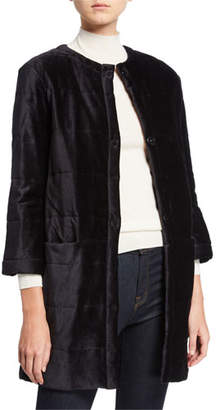 Neiman Marcus Majestic Paris for Quilted Velour Topper Coat