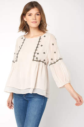 Q & A Embroidered Billow Sleeve Blouse