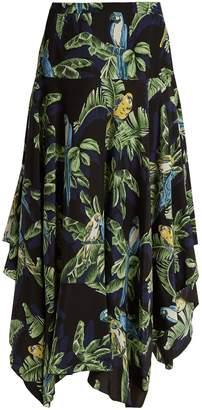 Stella McCartney Asymmetric parrot-print silk midi skirt