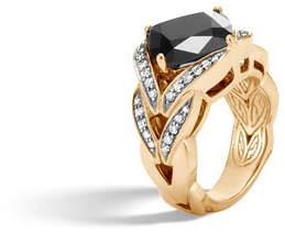 John Hardy Modern Chain Magic Cut 18k Ring with Onyx & Diamonds, Size 7