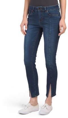 Seam Front Slit Ankle Denim Jeans