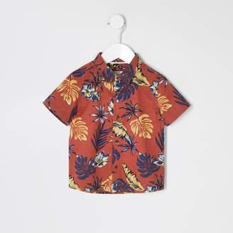 River Island Mens Mini boys Brown palm print shirt