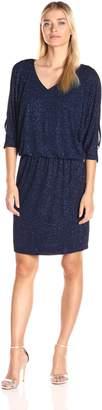 MSK Women's Sparkle Knit V Neck Cold Shoulder Blouson Dress