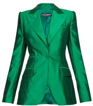 Dolce & Gabbana Single Breasted Silk Blazer - Womens - Green