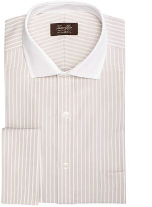 Tasso Elba Men's Classic/Regular Fit Non-Iron Twill Bar Stripe French Cuff Dress Shirt
