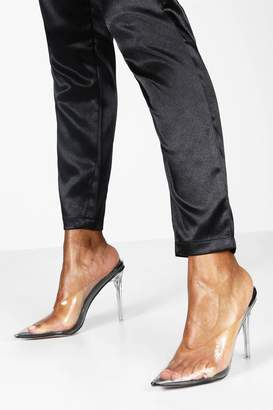 boohoo Clear Stiletto Heel Mule Courts