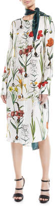 Oscar de la Renta Button-Front Long-Sleeve Enchanted-Forest Silk Dress