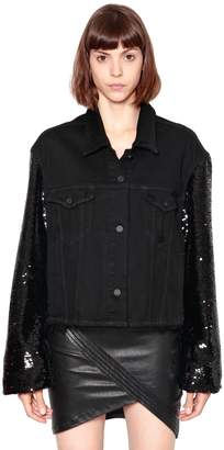 RtA Oversize Sequined Sleeves Denim Jacket