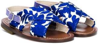 Pépé flower print crossover strap sandals