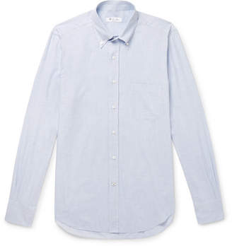 Loro Piana Alfred Button-Down Collar Puppytooth Brushed-Cotton Shirt - Light blue