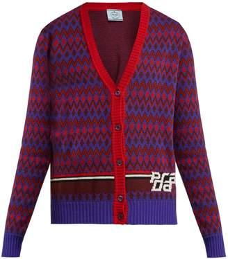 Prada Chevron-patterned wool-blend cardigan