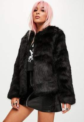 Missguided Black Collarless Faux Fur Jacket