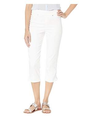 Tribal Colored Knit Denim Pull-On Capris w/ Braid Detail in White