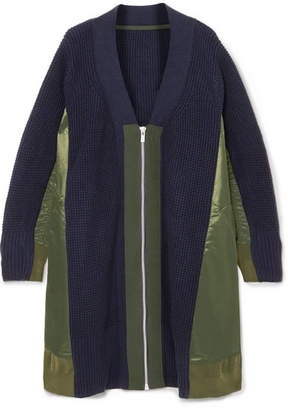 Sacai Oversized Paneled Waffle-knit Wool And Satin Cardigan