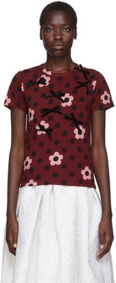 Comme des Garcons Burgundy Flower Velvet Ribbon T-Shirt