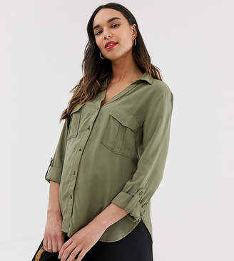New Look Maternity utility shirt in dark khaki