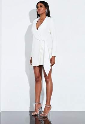 Missguided Cream Drape Wrap Blazer Dress
