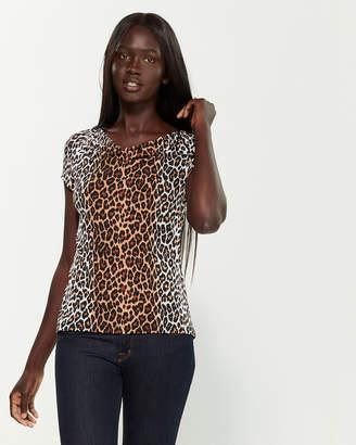 Premise Cowl Neck Short Sleeve Leopard Blouse