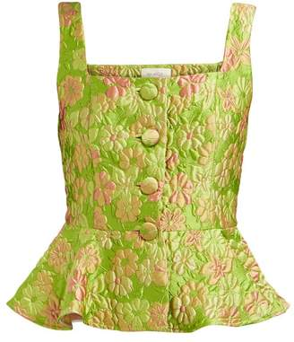 Isa Arfen Elba Peplum Floral Brocade Top - Womens - Green Multi