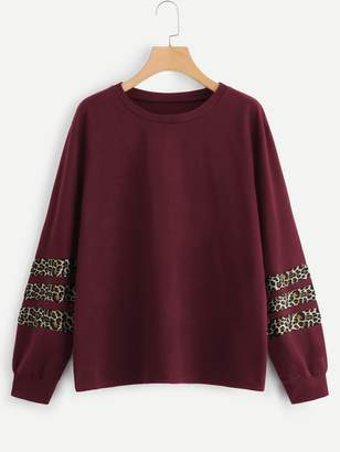 Shein Plus Contrast Leopard Print Sweatshirt