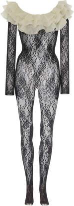 Alessandra Rich Ruffled Silk-Trimmed Stretch-Leavers Lace Bodysuit