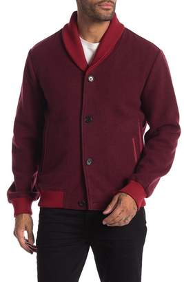 Daniel Won Lamb Leather Trim Cardigan Style Bomber Jacket
