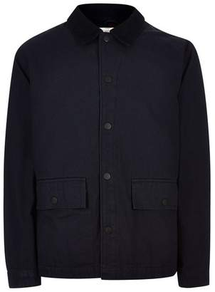 Topman Mens Navy Chore Jacket With Corduroy Collar