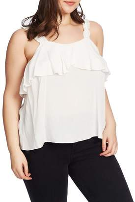 1 STATE 1.State Ruched Strap Flounce Edge Camisole (Plus Size)