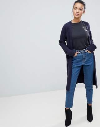 Fashion Union Longline Cardigan With Rib Knit Sleeves