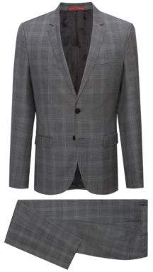 HUGO Boss Extra-slim-fit virgin-wool suit in check pattern 40R Open Grey