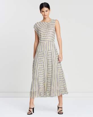 Reiss Raya Striped Asymmetric Midi Dress
