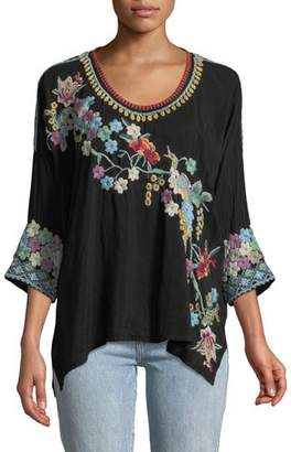 Johnny Was Merielle 3/4-Sleeve Floral-Embroidered Top, Plus Size