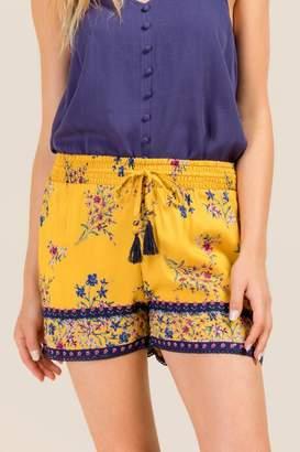 francesca's Georgiana Contrast Tie Waist Soft Shorts - Marigold