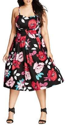 City Chic Plus Poppy Garden Dress