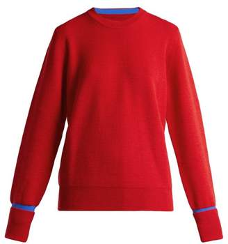 Maison Margiela Round Neck Colour Block Wool Blend Sweater - Womens - Red Multi